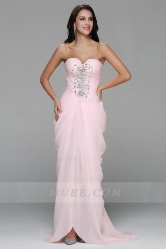 Beading Strapless Side Draped Long Pale Pink Chiffon Homecoming Dress