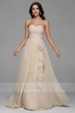 Classical Simple Strapless Sweetheart Long A-Line Ruching Chiffon Homecoming Dress