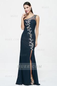 Dark Navy Sleeveless Beading Slit Long Chiffon Evening Dress