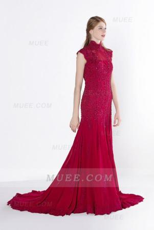 High Neck Cap Sleeve Sequin Lace A-Line Lonng Chiffon Prom Dress With Keyhole Back