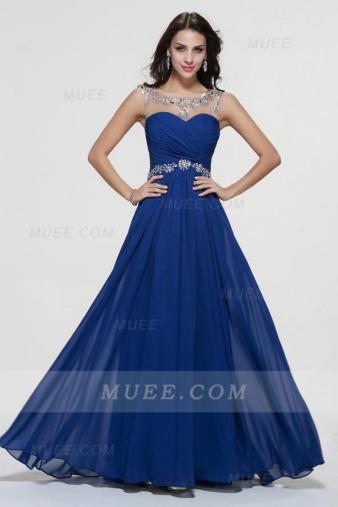 Illusion Neck A-Line Long Royal Blue Chiffon Homecoming Dress