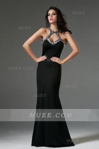 Sexy Backelss Long Black Jersey Beading Evening Dress