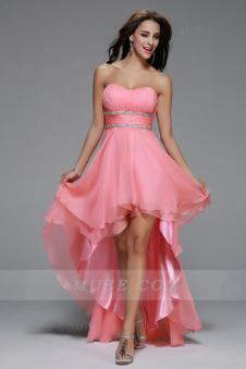 Simple High Low Beading A-Line Watermelon Chiffon Homecoming Dress