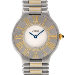 Cartier Must de PL44613 stainless steel & gold plated White dial 31mm Quartz wat