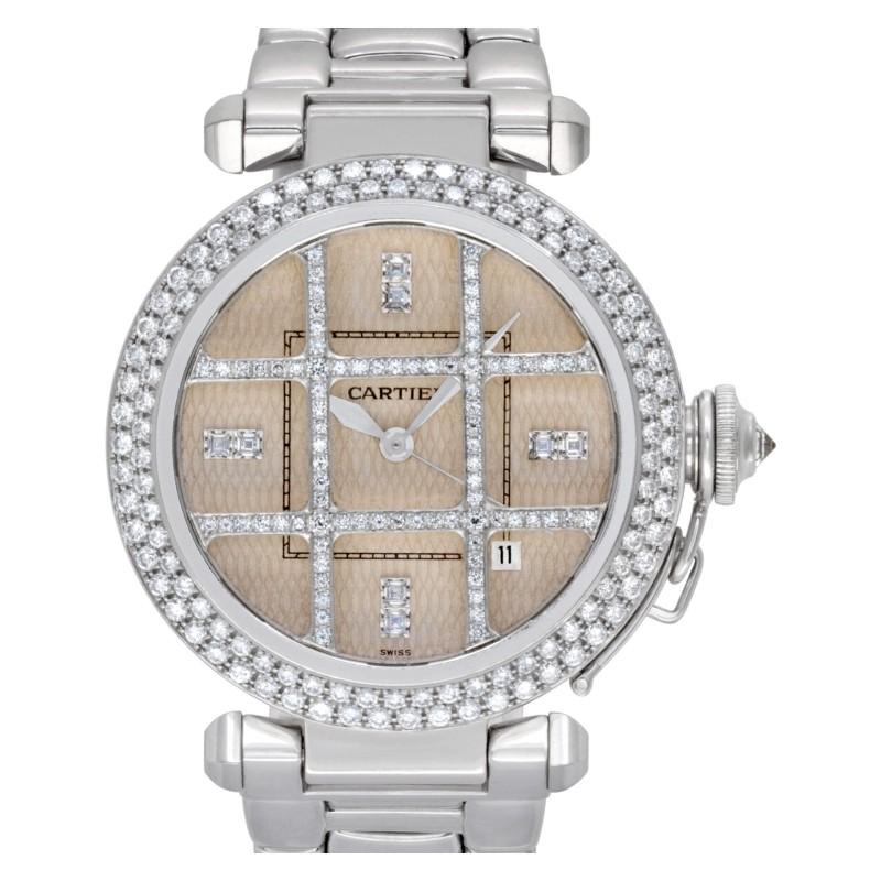 Cartier Pasha 38 2358 18k White Gold Ivory Diamond Dial Automatic Diamond Bezel