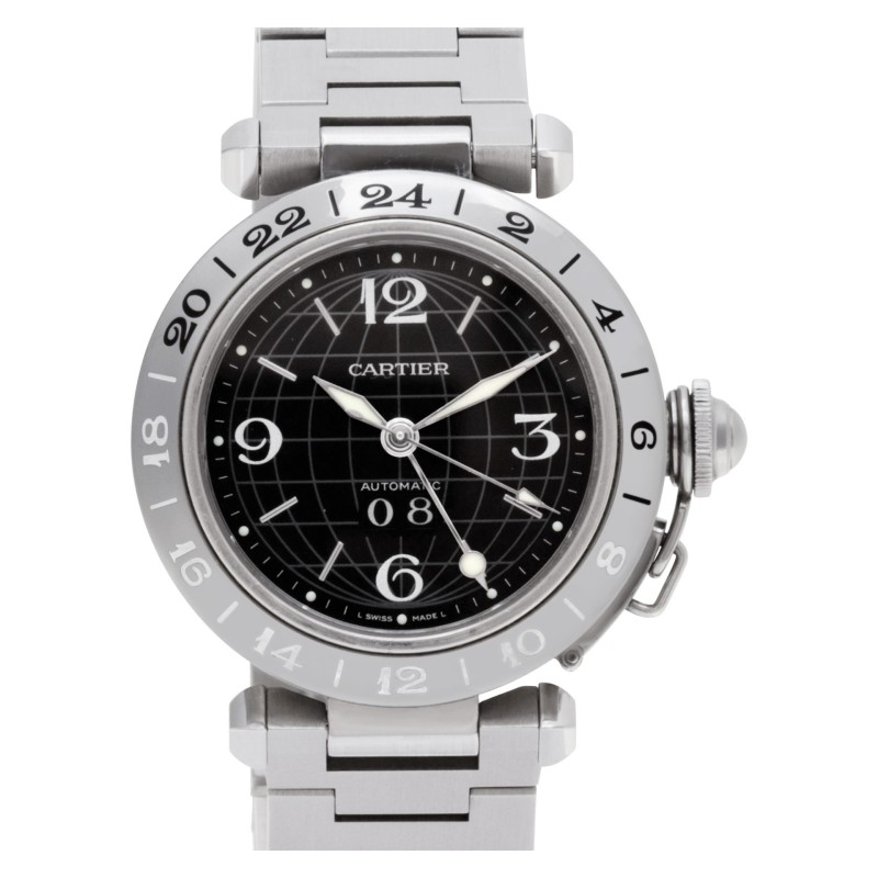 Cartier Pasha C W31049M7 stainless steel Black dial 35mm auto watch