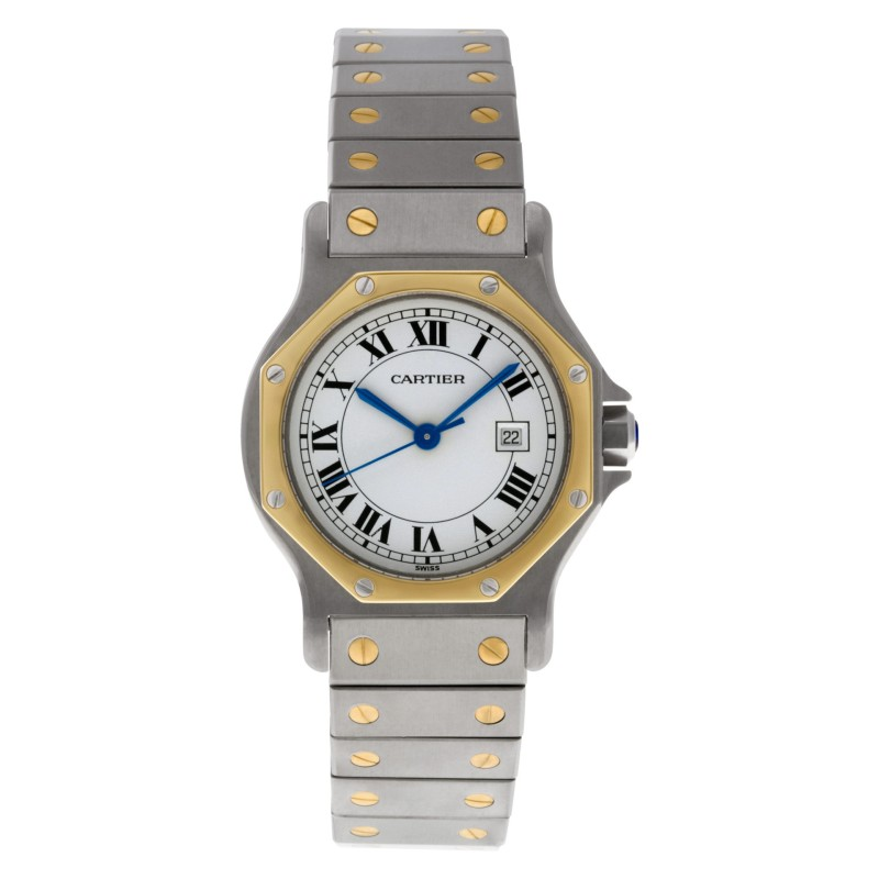 Cartier Santos 18k & steel White dial 29mm auto watch