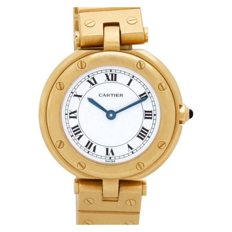 Cartier Santos 18k White dial 27mm Quartz watch