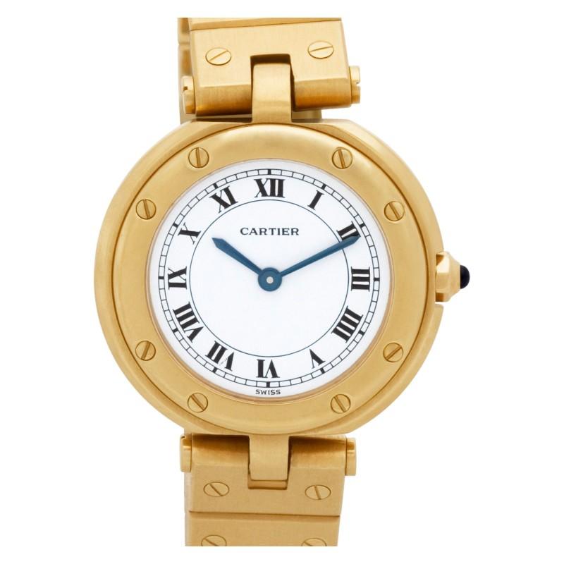 Cartier Santos 18k White dial 27mm Quartz watch