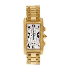 Cartier Tank American W2601156 18k White dial 26mm Quartz watch