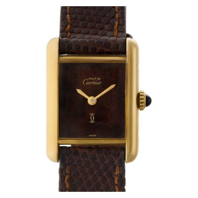 Cartier Tank vermeil Wood dial 20.4mm Quartz watch