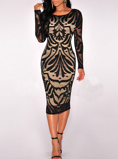 Midi Dress - Sheer Long Sleeves / Net Bodice / Nude Illusion Lining only $6.99