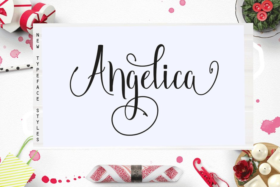 Angelica Angelica, a work that is purely handwritten, has natural characteristics. It's perfect for invitations, signatures, blogs, social media, business cards, product brands. Angelica is a simple font that has Stylistic standards, Stylistic Alternatives. and includes uppercase and lowercase letters, numbers and punctuation. Buy Now $12