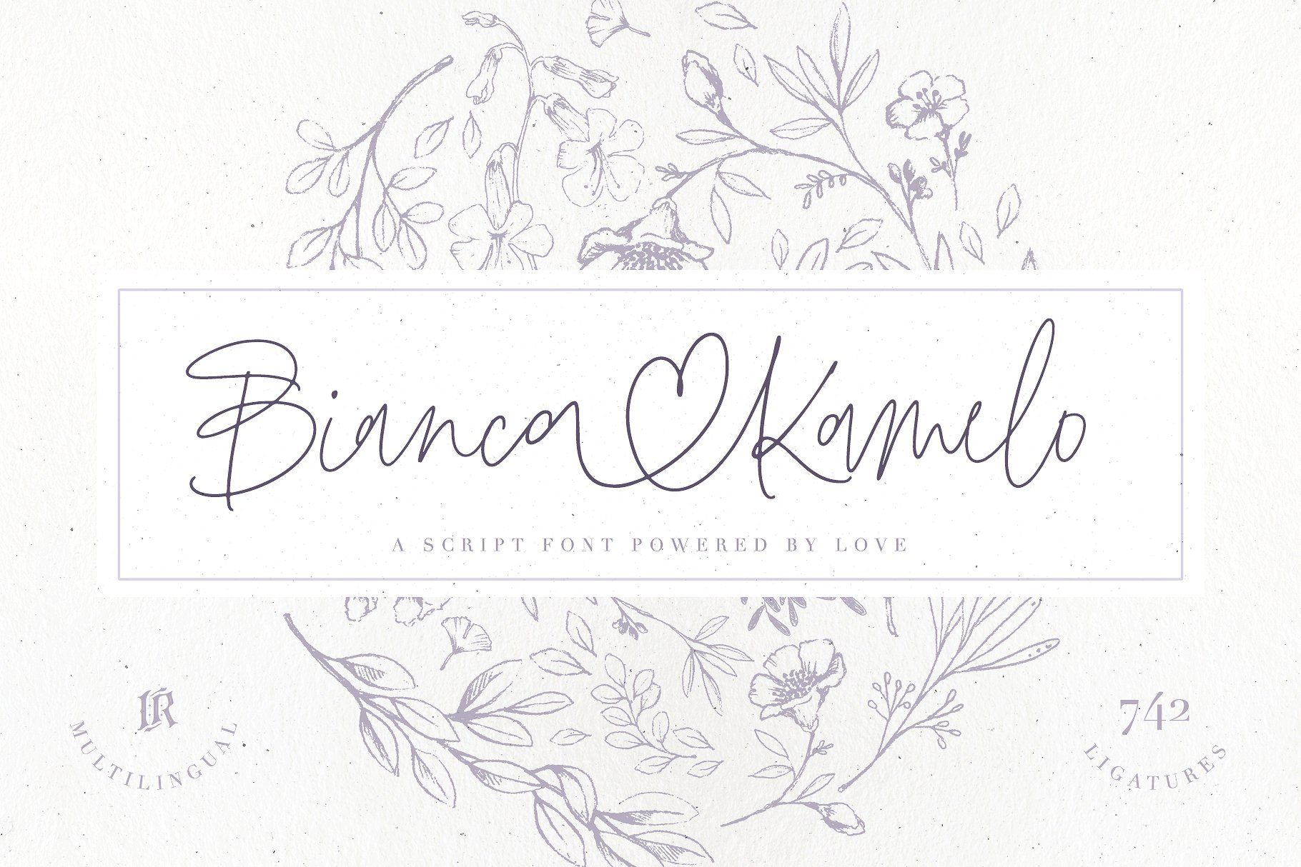 "Bianca Kamelo Font Bianca Kamelo Font is a modern hand-lettered font with 67 STANDARD LIGATURES and unique 676 ""LOVE LIGATURES"" which connect names with style. The font includes multilingual support for Western and Central Europe. Is ideal for weddings invitations, baby showers, blog website, Instagram, branding, invitations, business cards, and many more. This font also includes a complete set of alternates for uppercase and lowercase characters and stylistic ends for lowercase characters. Buy Now $8"