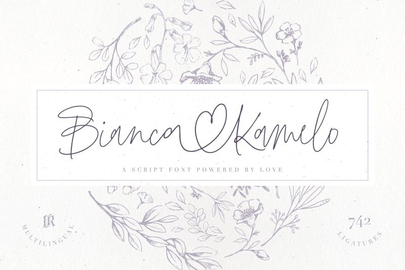 """Bianca Kamelo Font Bianca Kamelo Fontis a modern hand-lettered font with67 STANDARD LIGATURESand unique676 """"LOVE LIGATURES""""which connect names with style. The font includes multilingual support for Western and Central Europe. Is ideal for weddings invitations, baby showers, blog website, Instagram, branding, invitations, business cards, and many more. This font also includes acomplete set of alternates for uppercase and lowercasecharacters andstylistic ends for lowercasecharacters. Buy Now $8"""