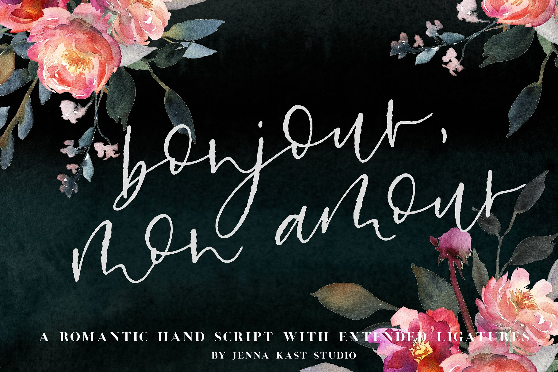 Bonjour Mon Amour Font Bonjour Mon Amour is a romantic, textured hand script signature font. Perfectly imperfect, this romantic font works great for branding, signatures, logos, product names and headlines. Each letter has at least one alternate, allowing you to play around and make your text look like more natural hand lettering. The font also includes 30 letter combination ligatures to create better flow. The alternates and ligatures allow you to customize the look of your text, keep it natural and create endless combinations. This font is great for designers - outlining your text in this font allows for further adjustments and alignments to make the script look even more natural and handwritten. Buy Now $9