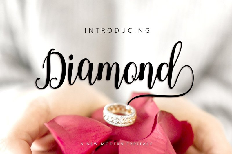Diamond Diamond Script Three versions Hi ... Introducing the latest styles Diamond Script, A sweet hand-lettered font, casual and dynamic with a dancing baseline, This font can be used easily and simply, perfect for Branding, Logos, Greeting Cards, Wedding Stationery, Quotes etc. Buy Now $12