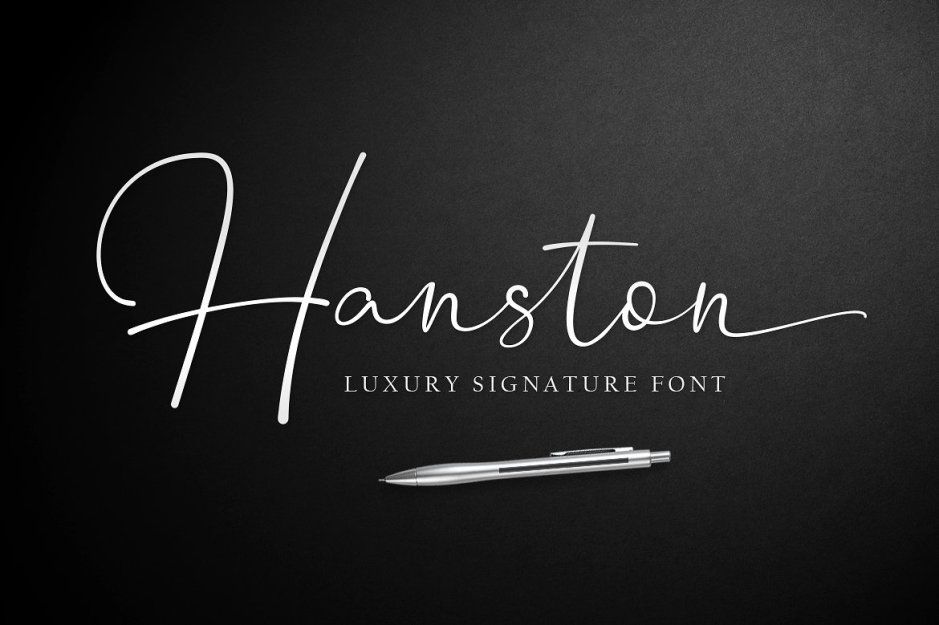 Hanston Signature Font Introducing Hanston Luxury Signature Font. A font with a touch of modern calligraphy is useful to beautify every sentence written. Hanston is built with opentype features with additional much ligatures and swash at the end so it makes it look natural as written by hand. Buy Now $14