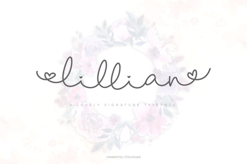 Lillian Script Lillian is a lovable script with bouncy swashes :). Lillian Script has a large variety of alternate characters, allowing you to make each word look completely unique to the next! Ligatures are also included. It has multilingual support with accented characters for international users. Buy Now $5