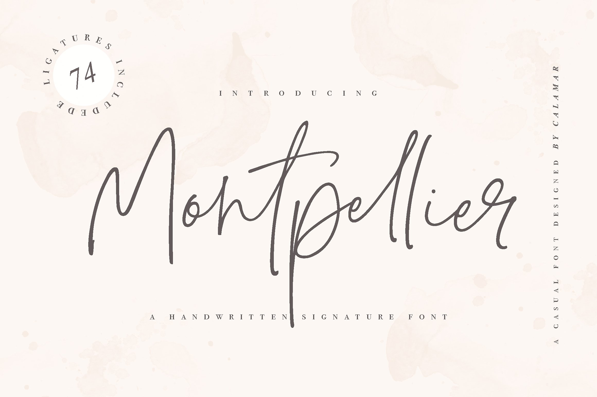 Montpellier Signature Font Montpellier Font is a handwritten signature font that is perfect for branding, social media headers, product packaging, wedding invites and cards and so on. This font is completely hand-drawn and contains 74 ligatures to perfectly re-create natural handwriting. Buy Now $18