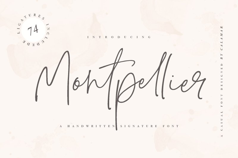 Montpellier Signature Font Montpellier Fontis a handwritten signature font that is perfect for branding, social media headers, product packaging, wedding invites and cards and so on. This font is completely hand-drawn and contains74 ligatures toperfectly re-create natural handwriting. Buy Now $18