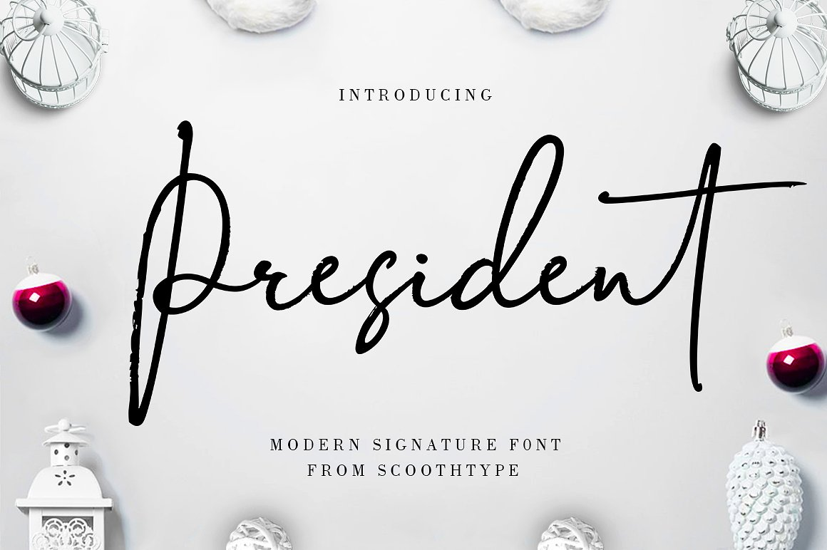 President Introducing a very fresh President's signature font, written in a fast motion using a snowman pen with actual handwriting nuances and a unique handmade style suitable for handwriting, signatures, logos, stationery, posters, clothes, cards, and more !! Buy Now $12