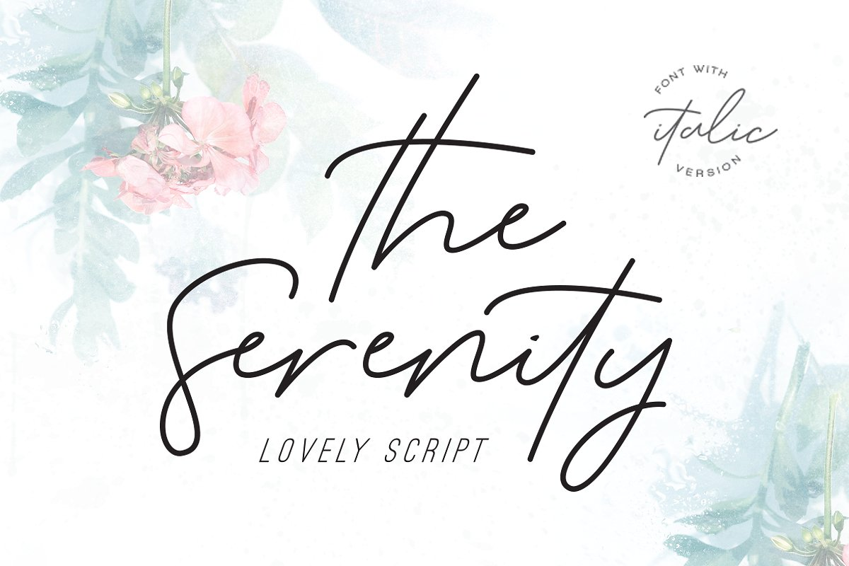 The Serenity - Lovely Script Serenity a natural signature style font, loaded with awesome opentype features, including 39 natural looking ligatures, bold family, as well as a full alternate upper and lowercase character set and multilingual too. This font will perfect for many different project ex: logo, blogging, quotes, branding, fashion, apparel, photography, watermark, header, poster, wedding, letter, invitation, stationery, and many more! Buy Now $13