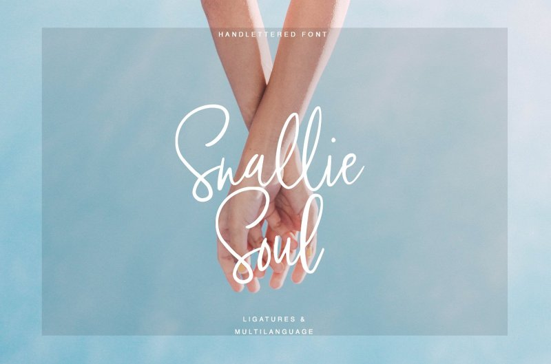 Snallie Soul Snallie Soul - a new fresh handmade calligraphy font. Very suitable for greeting cards, branding materials, business cards, quotes, posters, and more! This font is perfect for wedding postcard. Or you can create a perfect and unique design of your logo, blog, stationery, marketing, magazines, and more :) Buy Now $10