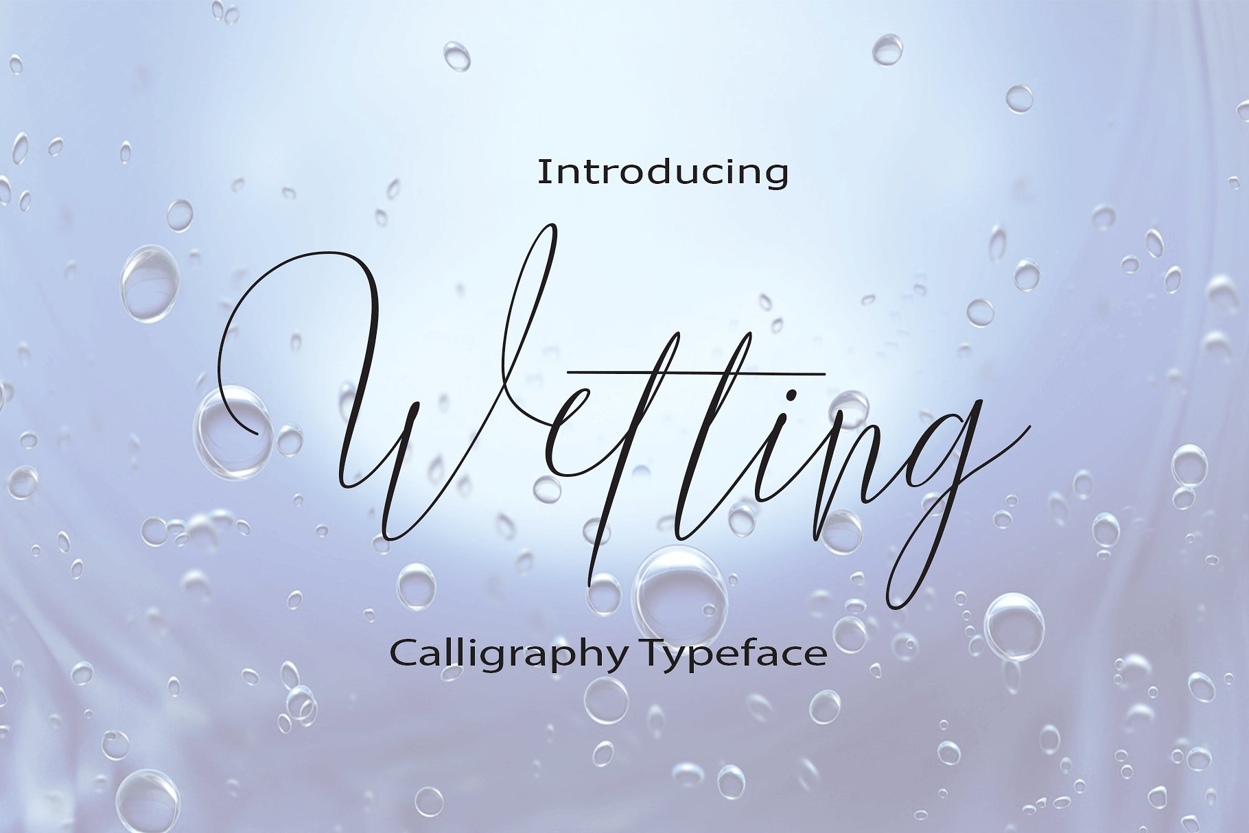 Wetting Wetting a work that is purely a result of handwriting, has a natural characteristic. this is perfect for invitations, signatures, blogs, social media, business cards, product brands. Wetting has a Stylistic standard, Stylistic Alternate, Stylistic Sets, and ligatures. and includes uppercase and lowercase letters, numbers and punctuation marks. Buy Now $13
