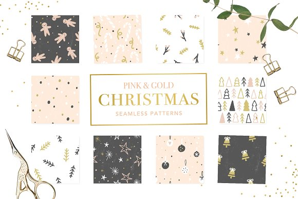 30 Pink and gold Christmas patterns Cute pink and gold Christmas collection. 30 JPEG seamless patterns 5000x5000 in 300 dpi. Buy Now $7