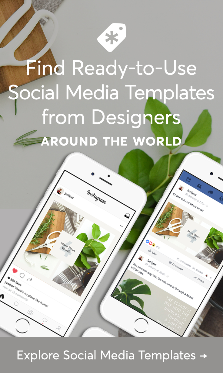 Predesigned social media templates to create stunning Instagram posts, Facebook cover photos, YouTube channel art, Pinterest graphics, and more.