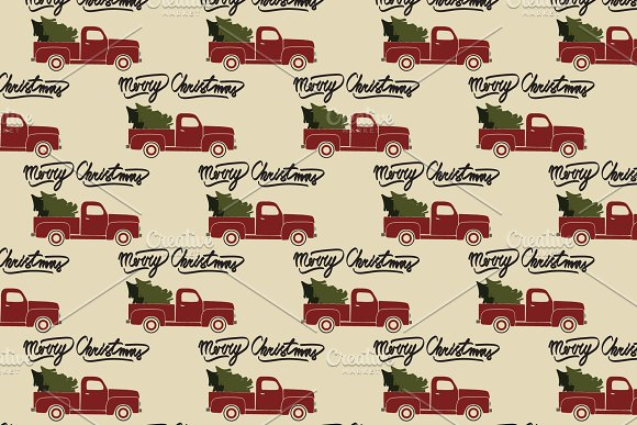 Christmas pickup truck pattern Red Christmas vintage pickup truck seamless pattern. Best for wrapping paper print, etc. Buy Now $8