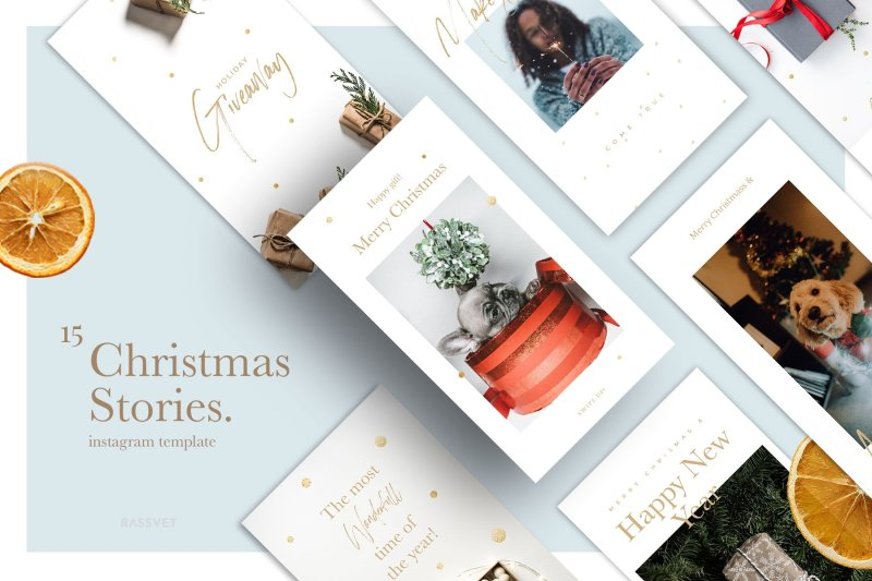 Christmas Stories Social Media Pack Christmas Stories - 15 easy templates of stories for your social media. The Christmas template is ideal for those who want to create an aesthetically pleasing and successful social networks. With these template you can easily upgrade your Instagram in a stylish and modern way! Buy Now $17