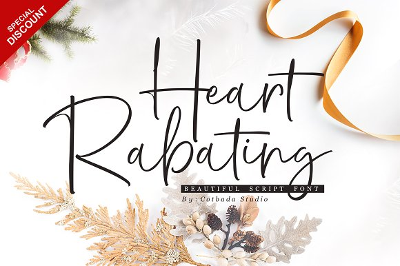 Heart Rabating Script Heart Rabating Font Script is a unique, cool and modern handwritten font. It's hand look style makes it perfect for use in all your design projects be it logos, Labels, Packaging design, Blog headlines, Poster, Instagram Design, etc Buy Now $12