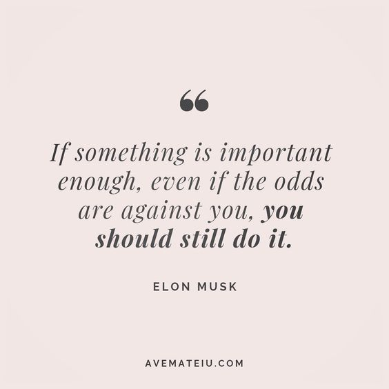 If something is important enough, even if the odds are against you, you should still do it. Elon Musk Quote 172 😏😎🔝 • • • #quote #quotes #quoteoftheday #qotd #motivation #inspiration #instaquotes #quotesgram #quotestags #motivational #inspo #motivationalquotes #inspirational #inspirationalquotes #inspirationoftheday #positive #life #succes #blogger #successquotes #confidence #happy #beautiful #lyrics #instadaily #bestoftheday #quotes #lovequotes #goodvibes