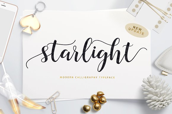 Starlight Script Starlight Script - a new fresh & modern script with a handmade calligraphy style, decorative characters and a dancing baseline! So beautiful on invitation like greeting cards, branding materials, business cards, quotes, posters, and more! Buy Now $16