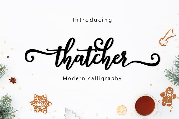 Thatcher Script Thatcher script come with 260+ glyphs. The alternative characters were divided into several Open Type features such as Swash, Stylistic Sets, Stylistic Alternates, Contextual Alternates. The Open Type features can be accessed by using Open Type savvy programs such as Adobe Illustrator, Adobe InDesign, Adobe Photoshop Corel Draw X version, And Microsoft Word.  Buy Now $12