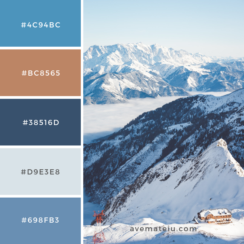Kitzsteinhorn, Austria Color Palette #171 Color combination, Color pallets, Color palettes, Color scheme, Color inspiration, Colour Palettes, Art, Inspiration, Vintage, Bright, Blue, Warm, Dark, Design, Yellow, Green, Grey, Red, Purple, Rustic, Fall, Autumn, Winter, Christmas 2019, Nature, Spring, Summer, Flowers, Sunset, Sunrise, Pantone https://avemateiu.com/color-palettes/