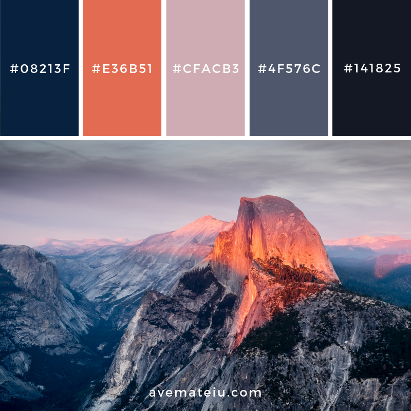 Yosemite National Park, USA Color Palette #172 Color combination, Color pallets, Color palettes, Color scheme, Color inspiration, Colour Palettes, Art, Inspiration, Vintage, Bright, Blue, Warm, Dark, Design, Yellow, Green, Grey, Red, Purple, Rustic, Fall, Autumn, Winter, Christmas 2019, Nature, Spring, Summer, Flowers, Sunset, Sunrise, Pantone https://avemateiu.com/color-palettes/