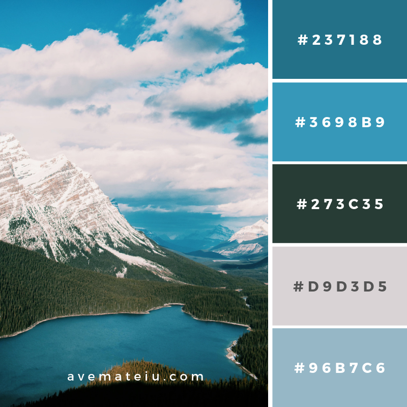 Peyto Lake, Canada Color Palette #173 Color combination, Color pallets, Color palettes, Color scheme, Color inspiration, Colour Palettes, Art, Inspiration, Vintage, Bright, Blue, Warm, Dark, Design, Yellow, Green, Grey, Red, Purple, Rustic, Fall, Autumn, Winter, Christmas 2019, Nature, Spring, Summer, Flowers, Sunset, Sunrise, Pantone https://avemateiu.com/color-palettes/