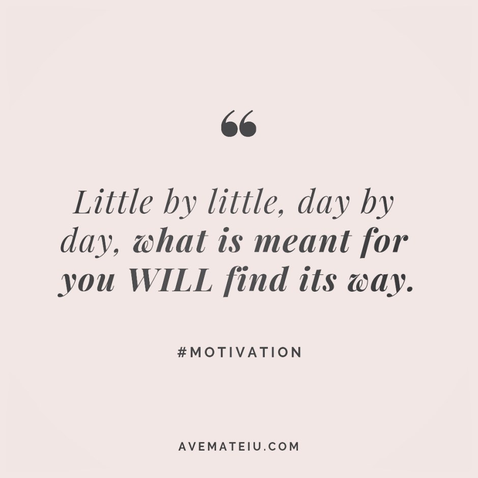 Little by little, day by day, what is meant for you WILL find its way. Quote 248 😏😎 More quotes on avemateiu.com/quotes 🔝 • • • #MotivationalQuoteOfTheDay #beautifulwords #deepquotes #happinessquotes #inspirationalquotes #leadershipquote #lifequotes #motivationalquotes #positivequotes #successquotes #wisdomquotes #goalsetter #successmindset #inspirationdaily #inspirationalquoteoftheday #selfdetermination #successfulday #motivation #confidence #instadaily #bestoftheday #goodvibes #quoteoftheday