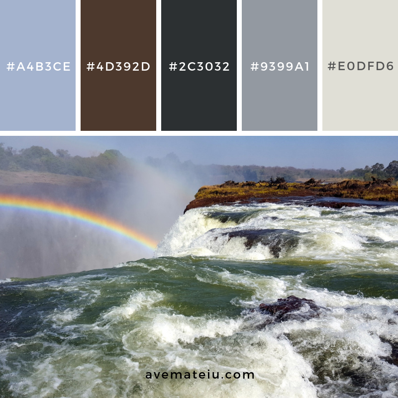Devil's Pool Victoria Falls Color Palette #192 Color combination, Color pallets, Color palettes, Color scheme, Color inspiration, Colour Palettes, Art, Inspiration, Vintage, Bright, Blue, Warm, Dark, Design, Yellow, Green, Grey, Red, Purple, Rustic, Fall, Autumn, Winter, Spring 2019, Nature, Spring, Summer, Flowers, Sunset, Sunrise, Pantone https://avemateiu.com/color-palettes/