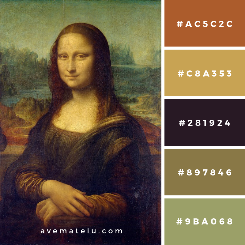 Mona Lisa by Leonardo da Vinci Color Palette #193 Color combination, Color pallets, Color palettes, Color scheme, Color inspiration, Colour Palettes, Art, Inspiration, Vintage, Bright, Blue, Warm, Dark, Design, Yellow, Green, Grey, Red, Purple, Rustic, Fall, Autumn, Winter, Spring 2019, Nature, Spring, Summer, Flowers, Sunset, Sunrise, Pantone https://avemateiu.com/color-palettes/