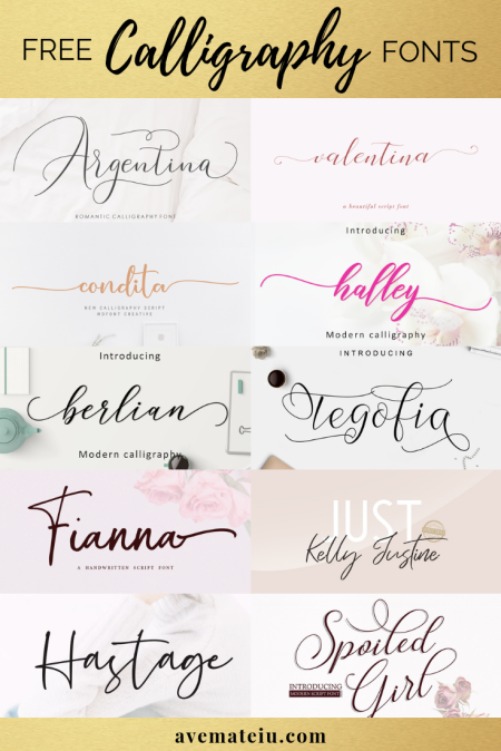 20 New FREE Beautiful Calligraphy and Handwritten Fonts - Calligraphy Fonts, Script Fonts, Typography Fonts, Typography Logo, Handwritten Fonts, Handwriting, Hand Lettering Drawing, Diy Projects, Diy Stationery, Diy Event, Paper Crafts, Diy Book, Wedding Stationery, Christmas, Holiday, Logo And Identity Design, Book And Magazine Design, Packaging And Label Design, Modern Font