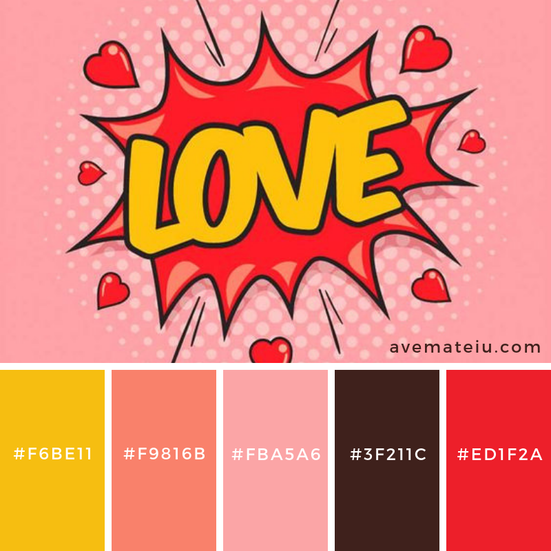 Color Palette #194View details →Color Palette #194Name: Love - Pop ArtSource: pinterest.comDo you like it?Share why (or why not!) in the comments!Also, feel free to share it on your socials by using the share buttons down below!← Previous post    Next post →Love - Pop Art Color Palette #194 Color combination, Color pallets, Color palettes, Color scheme, Color inspiration, Colour Palettes, Art, Inspiration, Vintage, Bright, Blue, Warm, Dark, Design, Yellow, Green, Grey, Red, Purple, Rustic, Fall, Autumn, Winter, Spring 2019, Nature, Spring, Summer, Flowers, Sunset, Sunrise, Pantone https://avemateiu.com/color-palettes/