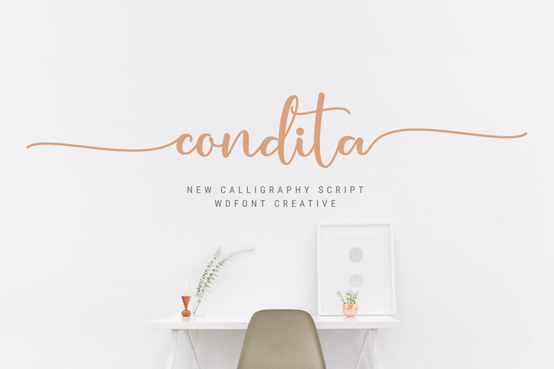 Condita Script Font - Calligraphy Fonts, Script Fonts, Typography Fonts, Typography Logo, Handwritten Fonts, Handwriting, Hand Lettering Drawing, Diy Projects, Diy Stationery, Diy Event, Paper Crafts, Diy Book, Wedding Stationery, Christmas, Holiday, Logo And Identity Design, Book And Magazine Design, Packaging And Label Design, Modern Font
