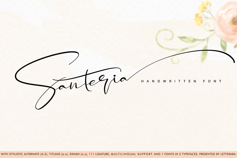 Santeria Signature Script Font - Calligraphy Fonts, Script Fonts, Typography Fonts, Typography Logo, Handwritten Fonts, Handwriting, Hand Lettering Drawing, Diy Projects, Diy Stationery, Diy Event, Paper Crafts, Diy Book, Wedding Stationery, Christmas, Holiday, Logo And Identity Design, Book And Magazine Design, Packaging And Label Design, Modern Font