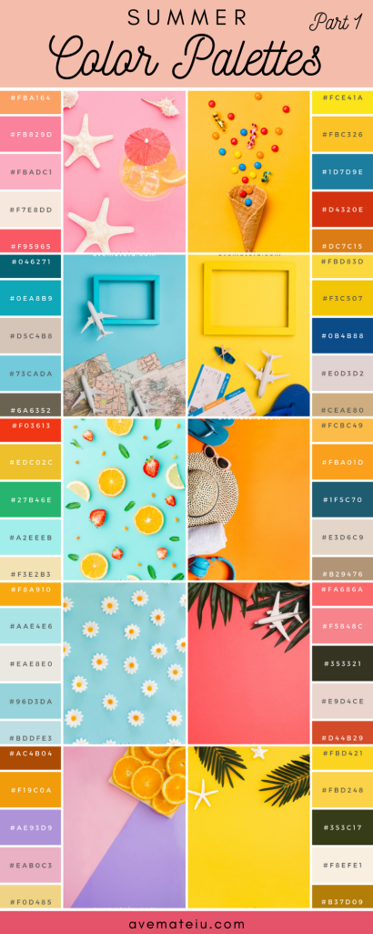 20 Summer Color Palettes and Hex Codes - color combination, color inspiration, color palette, color palettes, color scheme, color schemes, design, Fashion, hex codes, pantone summer color palette, summer color palettes