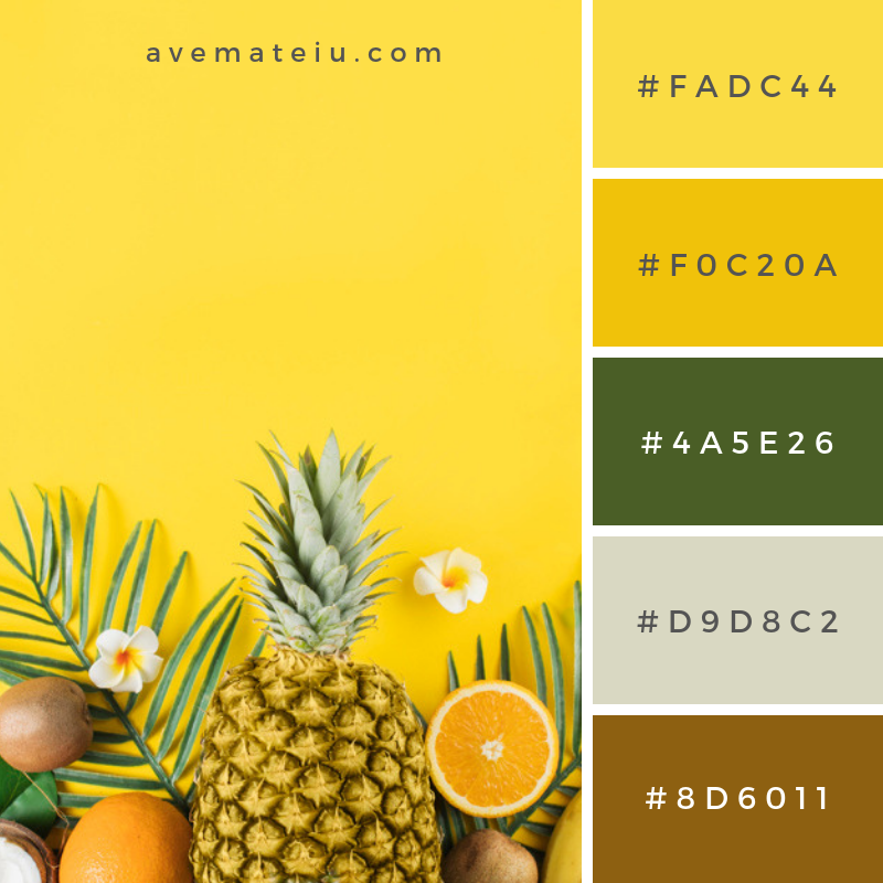 Tropical fruits and green plants. Color Palette #213 - Color combination, Color pallets, Color palettes, Color scheme, Color inspiration, Colour Palettes, Art, Inspiration, Vintage, Bright, Blue, Warm, Dark, Design, Yellow, Green, Grey, Red, Purple, Rustic, Fall, Autumn, Winter, Spring 2019, Nature, Spring, Summer, Flowers, Sunset, Sunrise, Pantone https://avemateiu.com/color-palettes/