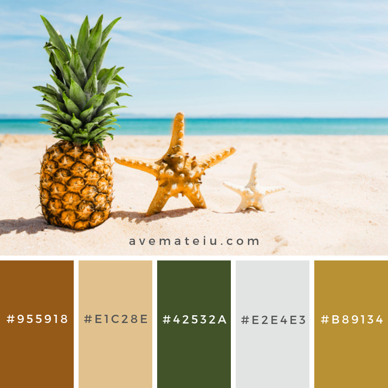 Beach background with pineapple and starfish. Color Palette #214 - Color combination, Color pallets, Color palettes, Color scheme, Color inspiration, Colour Palettes, Art, Inspiration, Vintage, Bright, Blue, Warm, Dark, Design, Yellow, Green, Grey, Red, Purple, Rustic, Fall, Autumn, Winter, Spring 2019, Nature, Spring, Summer, Flowers, Sunset, Sunrise, Pantone https://avemateiu.com/color-palettes/